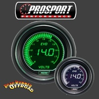 Prosport EVO Digital VOLT Gauge White Green 52mm