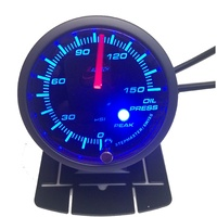 52OPWBSWLS-P(PSI) - BLUE- Oil pressure Gauge 52mm PSI with audible Alarm