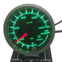 52OPWGSWLS-P(PSI) - GREEN - Oil pressure Gauge 52mm PSI with audible Alarm