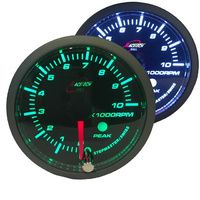 RaceTech Tachometer Gauge 52mm with audible Alarm Green / White  52TAWGSWLS-P-GREEN