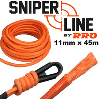 11mm x 45mm Sniper Line Competition Winch rope Braided outer cover 22,000ib